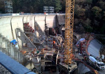 Travaux d'entretien du barrage du Mervent