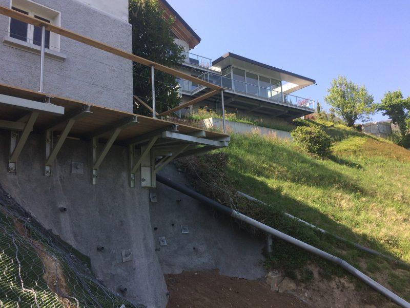 Confortement d'une maison suite à un glissement de terrain